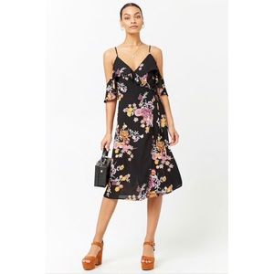 NWT Floral Flounce Open Shoulder Midi Dress Small